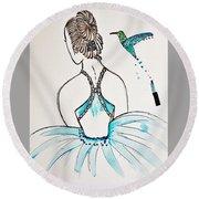 Ballerina  Hummingbird Love Round Beach Towel