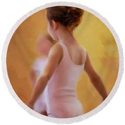Ballerina In Pink Round Beach Towel by Colleen Taylor