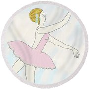Round Beach Towel featuring the drawing Ballerina In Pink by Rosalie Scanlon