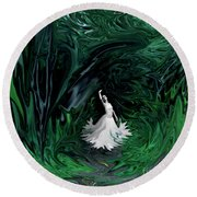 Round Beach Towel featuring the photograph Ballerina In Wonderland by Rebecca Margraf