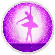 Round Beach Towel featuring the painting Ballerina Purple And Pink by Bob Baker