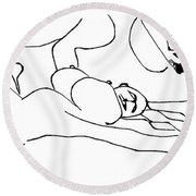 Ballet 2 Round Beach Towel