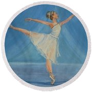 Round Beach Towel featuring the painting Ballet Blues by Kelly Mills
