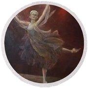 Ballet Dancer Anna Pavlova Round Beach Towel