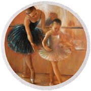 ballet lesson-painting on leather by Vali Irina Ciobanu  Round Beach Towel