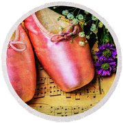 Ballet Shoes And Old Sheet Music Round Beach Towel