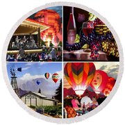 Balloon And Wine Gallery Round Beach Towel
