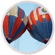Round Beach Towel featuring the photograph Balloon Bump by AJ Schibig