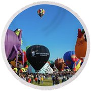 Balloon Fiesta Albuquerque I Round Beach Towel
