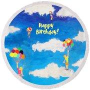 Balloon Girls Birthday Greeting Card Round Beach Towel