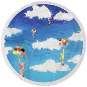 Balloon Girls Round Beach Towel