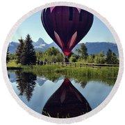 Balloon Reflection Round Beach Towel by Leland D Howard