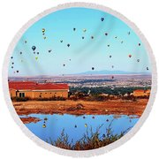 Balloon Reflections Round Beach Towel by Gina Savage