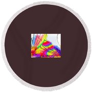 Round Beach Towel featuring the digital art Balloon Setup by Kirt Tisdale