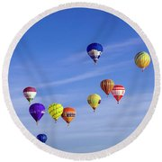 Balloons In The Air Round Beach Towel