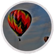Balloons In The Sky Round Beach Towel