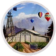 Balloons Over The Winery 1 Round Beach Towel