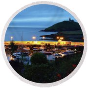 Ballycotton Ireland Marina Harbour And Lighthouse East County Cork Round Beach Towel