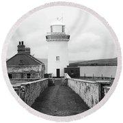 Ballyglass Lighthouse Mono Round Beach Towel