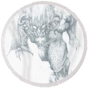Balrog Sketch Round Beach Towel
