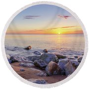 Round Beach Towel featuring the photograph Baltic Sunrise by Dmytro Korol