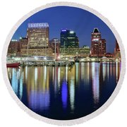 Baltimore Blue Hour Round Beach Towel by Frozen in Time Fine Art Photography