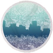 Round Beach Towel featuring the painting Baltimore City Skyline Map 2 by Bekim Art
