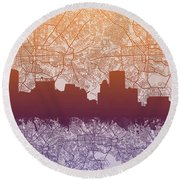 Round Beach Towel featuring the painting Baltimore City Skyline Map by Bekim Art