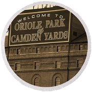 Baltimore Orioles Park At Camden Yards Sepia Round Beach Towel