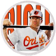 Baltimore Orioles Round Beach Towel by Stephen Younts
