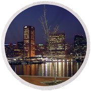 Round Beach Towel featuring the photograph Baltimore Reflections by Brian Wallace