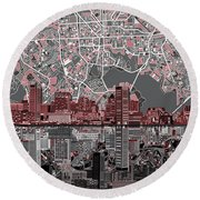 Baltimore Skyline Abstract Round Beach Towel by Bekim Art