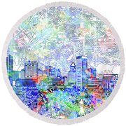 Round Beach Towel featuring the painting Baltimore Skyline Watercolor 10 by Bekim Art