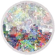 Round Beach Towel featuring the painting Baltimore Skyline Watercolor 11 by Bekim Art