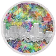 Round Beach Towel featuring the painting Baltimore Skyline Watercolor 12 by Bekim Art