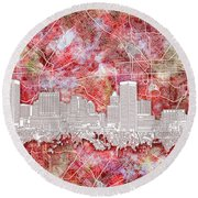 Round Beach Towel featuring the painting Baltimore Skyline Watercolor 13 by Bekim Art