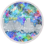 Round Beach Towel featuring the painting Baltimore Skyline Watercolor 14 by Bekim Art