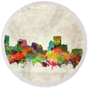 Round Beach Towel featuring the painting Baltimore Skyline Watercolor 2 by Bekim Art