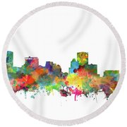 Round Beach Towel featuring the painting Baltimore Skyline Watercolor 3 by Bekim Art
