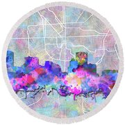 Round Beach Towel featuring the painting Baltimore Skyline Watercolor 6 by Bekim Art