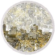 Round Beach Towel featuring the painting Baltimore Skyline Watercolor 8 by Bekim Art