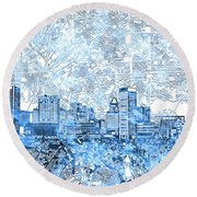 Round Beach Towel featuring the painting Baltimore Skyline Watercolor 9 by Bekim Art