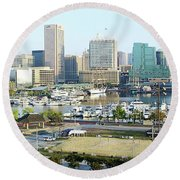 Round Beach Towel featuring the photograph Baltimore's Inner Harbor by Brian Wallace