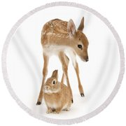 Bambi And Thumper Round Beach Towel