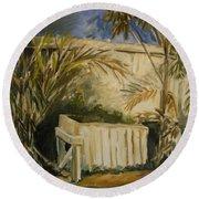 Bamboo And Herb Garden Round Beach Towel