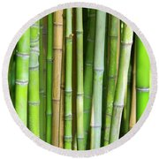 Bamboo Background Round Beach Towel
