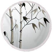 Round Beach Towel featuring the painting Bamboo by Edwin Alverio
