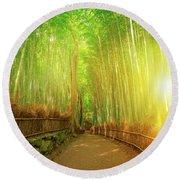 Bamboo Grove Arashiyama Kyoto Round Beach Towel