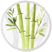 Bamboo Plant Paper Art Print, Bamboo Sticks Painting, Green Leaves Clipart Round Beach Towel