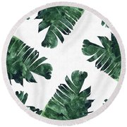Banan Leaf Watercolor Round Beach Towel by Uma Gokhale